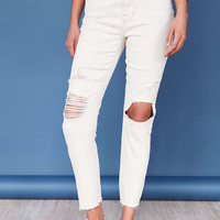 BDG Twig Crop High-Rise Skinny Jean - White - Urban Outfitters