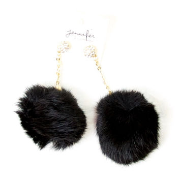 Fur Ball Earrings in Black