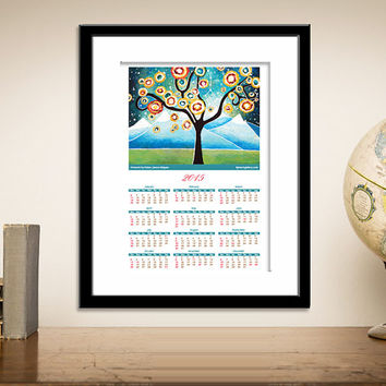 2015 Wall Calendar Print, Yearly Art Calendar, Tree of Life Whimsical Art Print, Signed 13x18