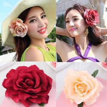 Fashion Flower Crown headwear girl Rose Flower Tie back halo Bridal Flower Clips Cute hair Accessories photo prop For Women