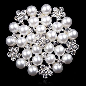 lot of 2 pcs Classic Simulated Pearl Bridal Brooch Pins with Clear Crystal Rhinestones for Women Bride or Wedding DIY Bouquets