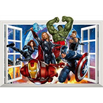 The Avengers movie fake window stickers Super Heroes anime figures 3d vinyl wall decals for kids rooms decoration marvel posters