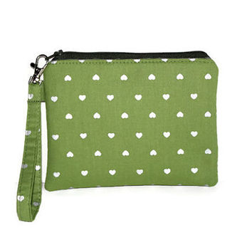 Green and silver pouch, padded zipper pouch, wristlet, cell phone pouch, gadget case, makeup case, purse organizer,  green and silver hearts