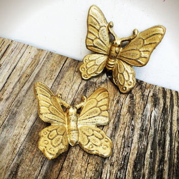 Shimmering Antique Gold Shabby Chic Butterfly Wall Decor - Spring Hand Painted Cast Iron 3D Wall Art