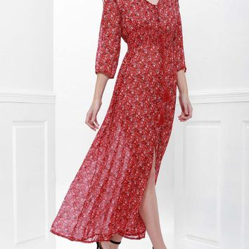 Printed High Slit Maxi Dress with Sleeves - Red - L
