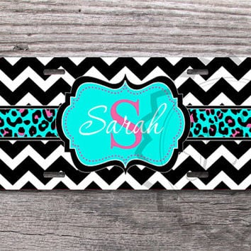 Custom License Plate - Black chevron with Cute Aqua  Cheetah monogram label, front license plate, monogram car tag - 270