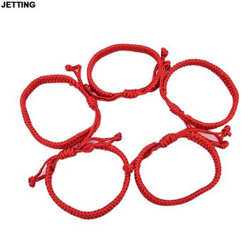 JETTING 5Pcs Unisex Jewelry Double Layer Red String Handmade Braided Rope Men Women Hand Strap Charm Bracelet