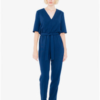 Crepe Belted V-Neck Jumpsuit | American Apparel