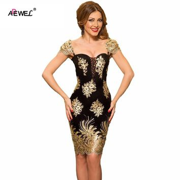 ADEWEL Sexy Luxury Gold Flower Embroidered Bodycon Lace Party Dress Women Elegant Sleeveless Glittering Club Short Dresses