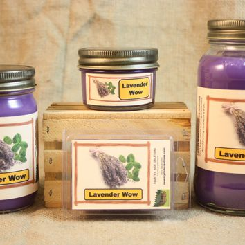 Lavender WOW Candle and Wax Melts, Floral Scent Candle, Highly Scented Candles and Wax Tarts, Mason Jar Candle, Gift for Mom, Strong Scent