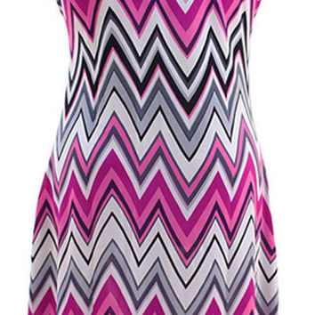 Pretty Plus size Chevron Maxi Dress - Pink 1X 2X 3X