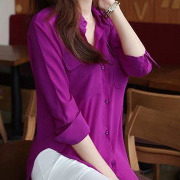 Botton-Up Chiffon Blouse - Plum