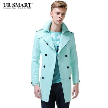URSMART Brand men's clothing and double-breasted men's windbreaker long in aqua male trench coat