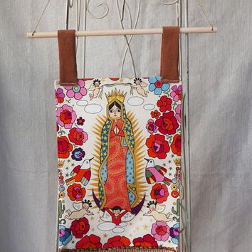 Our Lady of Guadalupe Fabric Wall Hanging Roses Gold and Cherubs