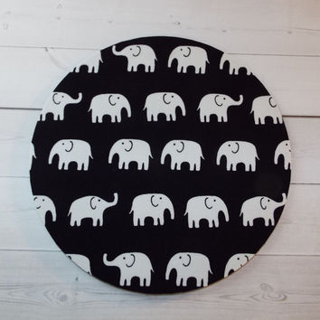 Elephants Mouse Pad mousepad mouse Mat - Rectangle or round - white elephants on black elephant mousepad