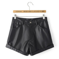 Autumn Women's Fashion Pants High Rise With Pocket PU Leather Shorts [6034462209]