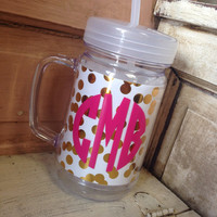 24OZ. GOLD CONFETTI ACRYLIC MASON JAR – LaRue Chic Boutique