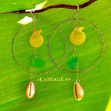 14K Gold Filled Shell Dangle Hoops, Sea glass earrings, hammered hoops
