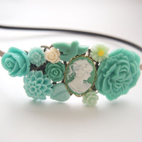 glamasaurus ♥Kawaii Cute Sweet Jewelry + Accessories ♥ — Teal Lady Cameo Cluster Headband