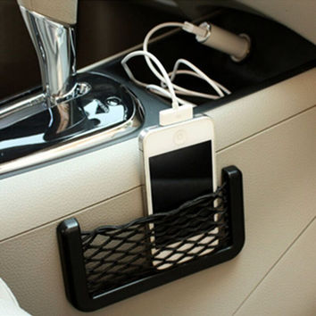 Car Accessories Multifunctional Car Carrying Bag Stickers Car Styling Phone Storage Net String Bag Phone Holder Pocket For Car