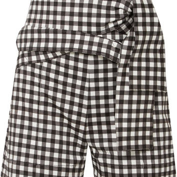 Silvia Tcherassi - Sella belted gingham cotton-blend shorts