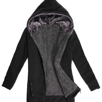 Fur Inside Hooded Long Sleeves Pocket Design Jacket