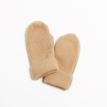Cashmere Blend Waffle Knit Mittens