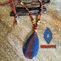 Native american arrowhead dragon vein agate necklace, boho tribal jewelry