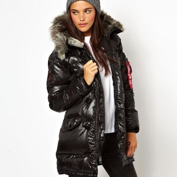 Alpha Industries Padded Parka With Faux Fur Trim