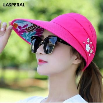 LASPERAL New UV Protection Women Summer Beach Sun Hats Pearl Packable Sun Visor Hat With Big Heads Wide Brim Female Cap