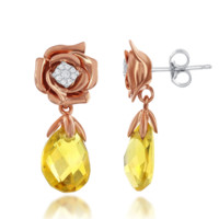 Enchanted Disney's Belle 14kt Rose and White Gold Citrine and Diamond Earrings