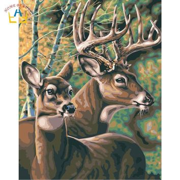 Animals deer paintings acrylic paints by numbers on canvas modular picture for drawing wall art for living room home decor W6651