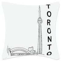 Passport Postcard Toronto Square Throw Pillow in Black/White