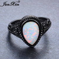 JUNXIN Cute Water Drop Rainbow Fire Opal Rings For Women Men Black Gold Filled Wedding Party Promise Ring Best Friend Gift