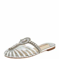 Sophia Webster Iridessa Satin Crystal Flat Slide Sandal