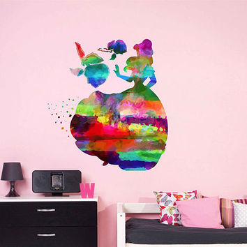 kcik2161 Full Color Wall decal Watercolor Character Disney Belle Beauty and the Beast children's room Sticker Disney