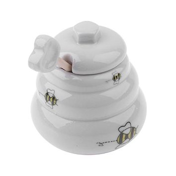 Beehive Shaped Honey Pot with Dipper White Ceramic with Honey Bee