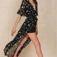 Black V-Neck Star Print Dress