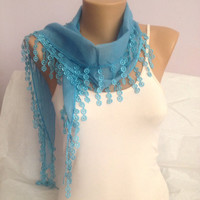 Blue Scarf - Sky Blue Fringed Scarf - Wedding Scarf  Accessorie