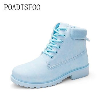 POADISFOO 2017 fashion new multi-color single boots Martin boots 9 colors fashion casual shoes large size 36 ~ 41 .XZ-07
