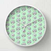 Poodle Pup Pattern Wall Clock by Marie Gardeski