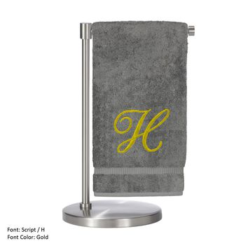 Monogrammed Bath Towel, Personalized Gift, 27 x 54 Inches - Set of 2 - Gold Script Embroidered Towel - 100% Turkish Cotton - Soft Terry Finish - For Bathroom, or Spa - Script H Gray Towels