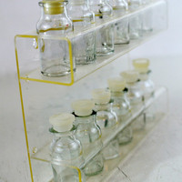 Lucite Spice Rack with 12 Glass Jars, Acrylic Spice Rack Standing or Wall Mount, Two Tier