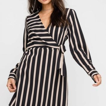 Long Sleeve Wrap Mini Dress