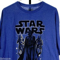 Men's STAR WARS Retro Style Blue T-Shirt XXL Darth Vader & Stormtroopers