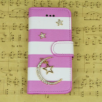 Personalized iphone 4 4s 5 5s 5c star moon studded wallet flip case cover skin, iphone 5 flip case cute iphone 4s wallet case iphone 5c case