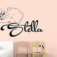 Wall Decals Personalized Name Minnie Mouse Mice Ears Elephant Vinyl Sticker Decal Custom Name Girls Boys Initial Monogram Children Baby Decor Nursery Kids Room Bedroom Art NS877