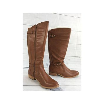 BareTraps Tommy Tan Tall Shaft Boots with Buckles, Size 10