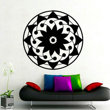 Flower Wall Decals Mandala Om Yoga Indian Pattern Oum Sign Living Room Interior Vinyl Decal Sticker Art Mural Bedroom Kids Room Decor MR377