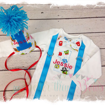 2 Pc BOYS FIRST BIRTHDAY Outfit-Boys Birthday bodysuit with Character #1 and Bow Tie-Cake Smash Birthday Outfit-Birthday Hat